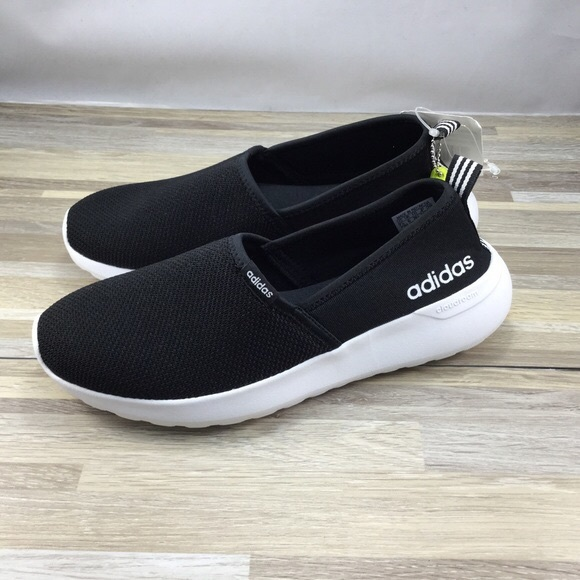 NICE Size 9 Adidas Neo Women's Black White Cloudfoam Lite Racer Slip On Shoes